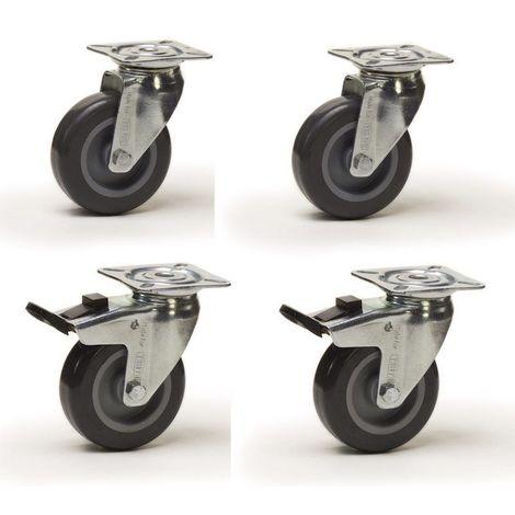 Lot roulettes pivotantes et pivotantes à frein caoutchouc gris 75 mm - 180 Kg