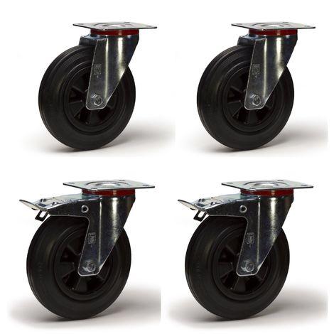 Lot roulettes pivotantes et pivotantes à frein caoutchouc noir 200 mm - 615 Kg