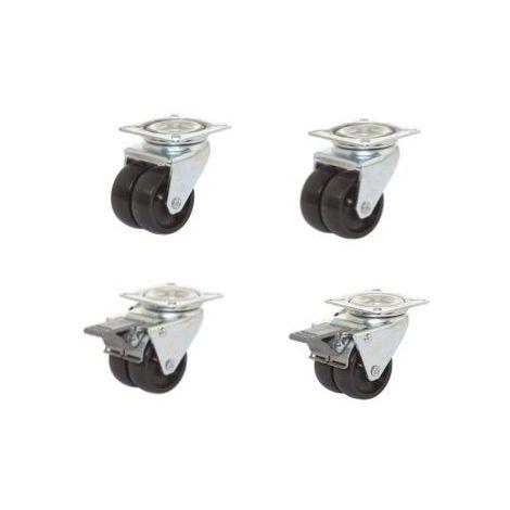 Lot roulettes pivotantes et pivotantes à frein jumelées plastique noir 50 mm - 180 Kg