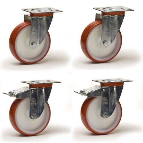 Lot roulettes pivotantes et pivotantes à frein polyuréthane rouge 200 mm - 900 Kg