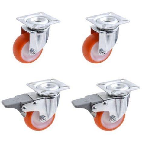 Lot roulettes pivotantes et pivotantes à frein polyuréthane rouge 50 mm - 165 Kg