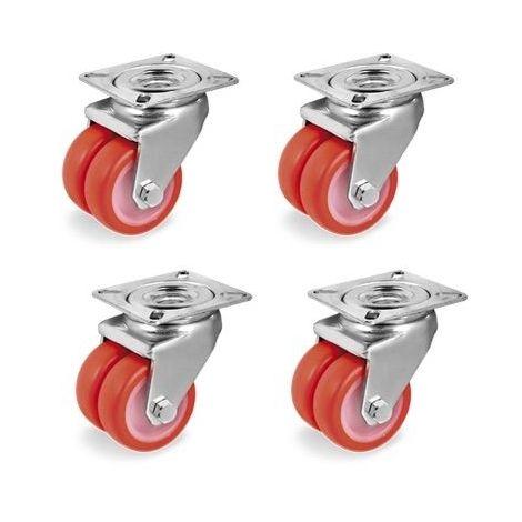 Lot roulettes pivotantes jumelées polyuréthane injecté rouge 50 mm - 420 Kg