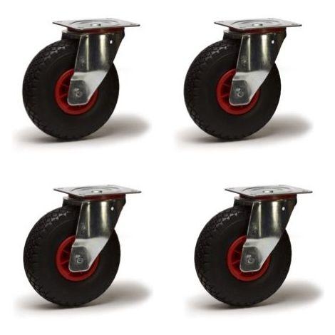 Lot roulettes pivotantes pneu gonflable 3.00-4 - 405 Kg