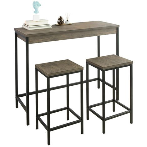 Lot Table et Tabourets de Bar de Style Industriel Ensemble Table de Bar + 2 Tabourets,SoBuy