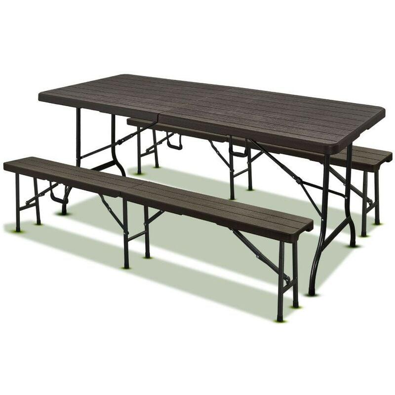 Terre Jardin - Lot table pliante 8 personnes effet bois + 2 bancs 4 pers
