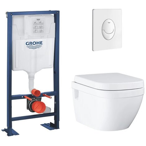 Lot wc suspendu sans bride Grohe Euro Ceramic bâti support Grohe Rapid SL et plaque de commande, blanche