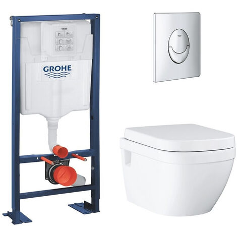Lot wc suspendu sans bride Grohe Euro Ceramic bâti support Grohe Rapid SL et plaque de commande, chrome