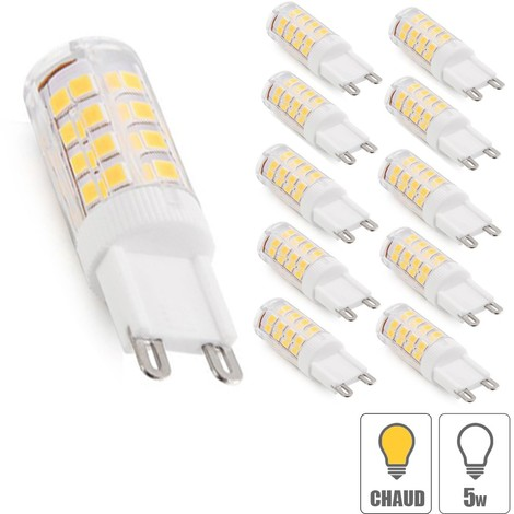 Lot x10 ampoule led G9 5W SMD blanc chaud