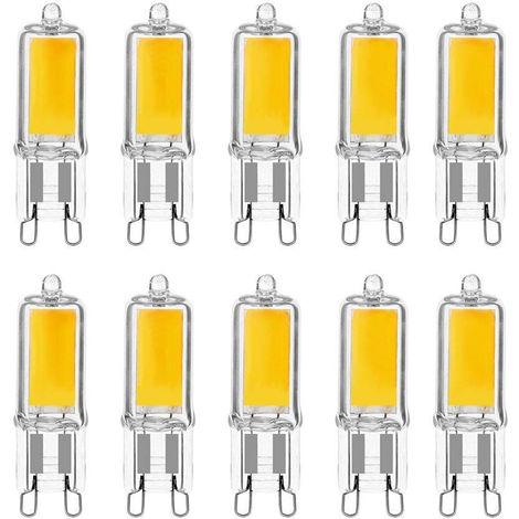 Lot x10 ampoules LED G9 3W Nouvelle version COB Blanc froid