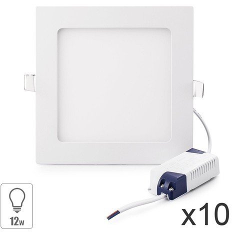 lot x10 Spot led encastrable carré 12w slim blanc froid pour plafonnier