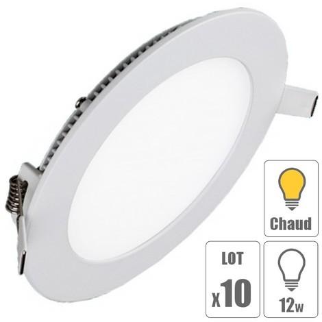 lot x10 Spot led encastrable downlight rond 12w slim blanc chaud