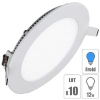 lot x10 Spot led encastrable downlight rond 12w slim blanc froid
