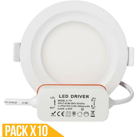 Lot x10 Spot led encastrable downlight rond 5w slim blanc froid