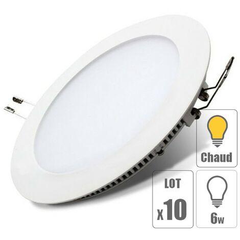 "main image of ""lot x10 Spot led encastrable downlight rond 6w slim blanc chaud"""