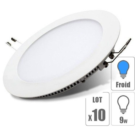 lot x10 Spot led encastrable downlight rond 9w slim blanc froid