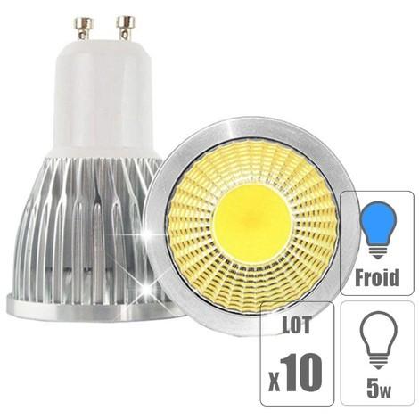 Lot x10 spots LED GU10 5W COB
