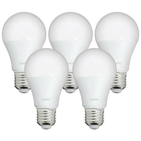 Lot x5 Ampoules LED standard, culot E27, conso 9W, eq. 60W, blanc neutre | Xanlite