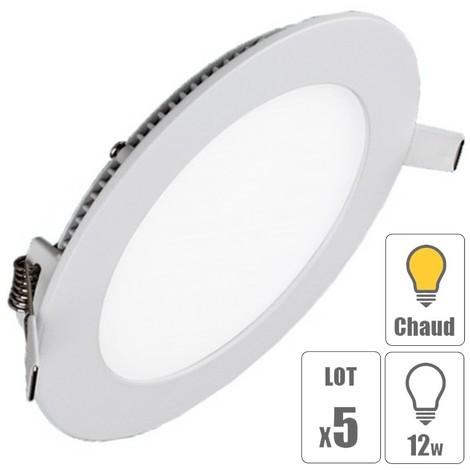 lot x5 Spot led encastrable downlight rond 12w slim blanc chaud pour plafonnier