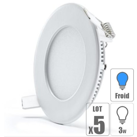 lot x5 Spot led encastrable downlight rond 3w slim blanc froid