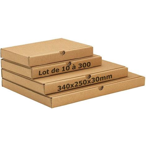 Lot x50 - Boite postale extra plate 340x250x30 mm boite carton expédition format lettre épaisseur 3cm 30mm (x50)