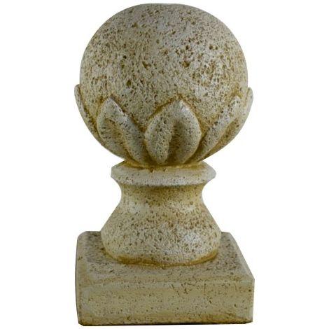 Lote 2 Remate de Pilar Bola de hormigón-piedra para jardín o exterior 36cm.