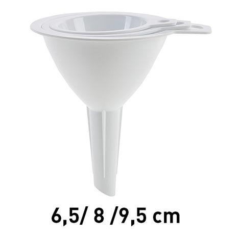 Lote 3 Embudos 6,5+8+9,5 Cm. Blancos