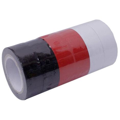 lote 6 cintas aislantes 10mx19mm (2 blancas,2 negras, 2 rojas)