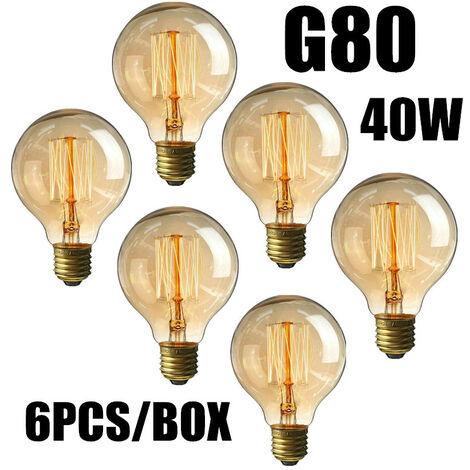 Lote 6Pcs 40W Bombillas incandescentes Vintage Edison Light Blanco cálido E27 G80 220V