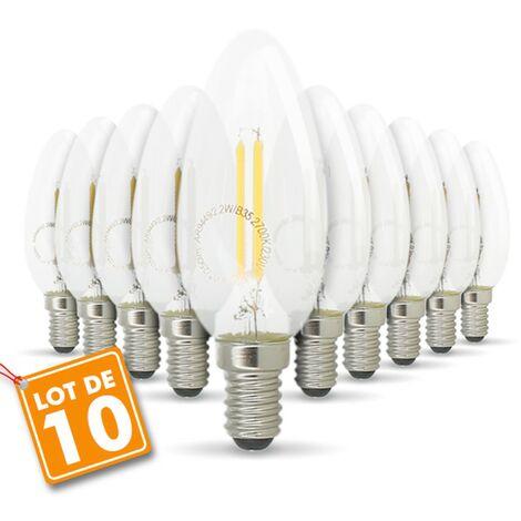 Lote de 10 bombillas de filamento LED E14 2.2W 250 lúmenes | Temperatura de color: Blanco cálido 2700K