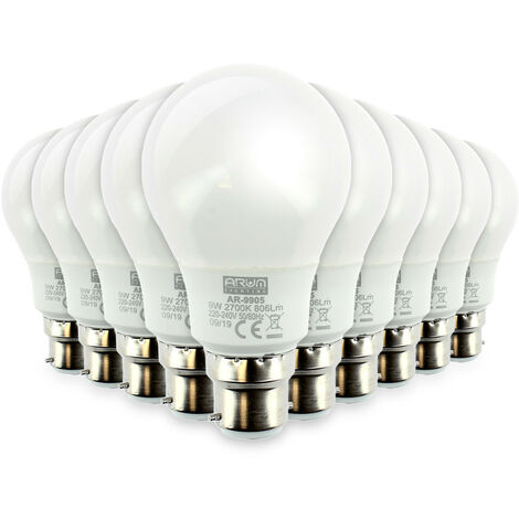 Lote de 10 bombillas LED B22 9W eq 60W 806Lm