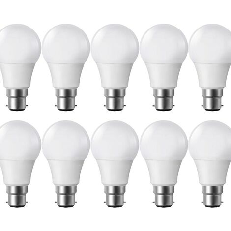 Lote de 10 bombillas LED B22 9W eq 60W 806m Blanco cálido