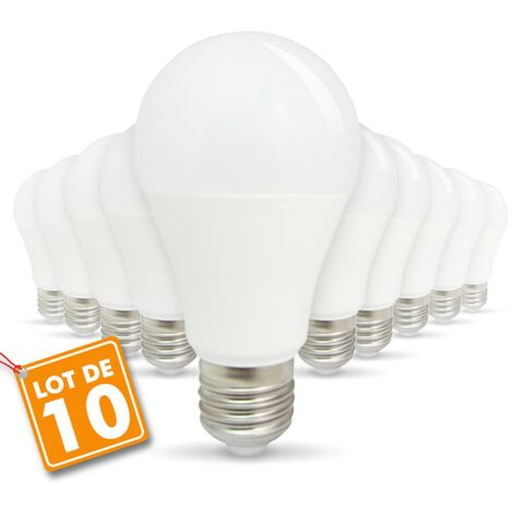Lote de 10 bombillas LED E27 9W eq 60W 806lm