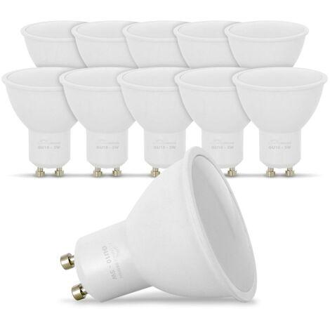 Lote de 10 bombillas LED GU10 5W eq. 40W 6000K Blanco Frio