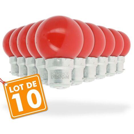 Lote de 10 bombillas led rojas de 1 vatio (equivalente a 10 vatios) Guinguette Garland
