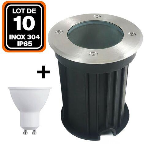 Lote de 10 focos empotrables de suelo redondos acero inoxidable 304 Exterior IP65 + Bombilla GU10 5 W Blanco cálido 2700 K
