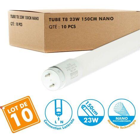 Lote de 10 tubos T8 LED 150cm 23W conexión lateral   Temperatura de color: Blanco frío 6400K