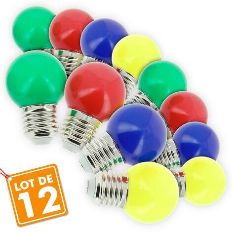 "main image of ""Lote de 12 guirnaldas de exterior de bombillas abigarradas E27"""