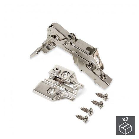 Lote de 2 bisagras codo X91 Emuca con cierre suave y suplementos para atornillar con regulación excéntrica