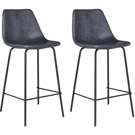 "main image of ""Lote de 2 taburetes de bar vintage LUCIEN color gris oscuro - Altura del asiento 65cm"""