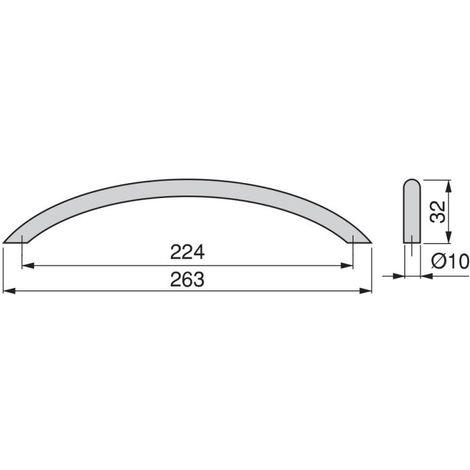 Black 64 mm Set of 20 Pieces Emuca 9160114 Zamak Furniture Handle