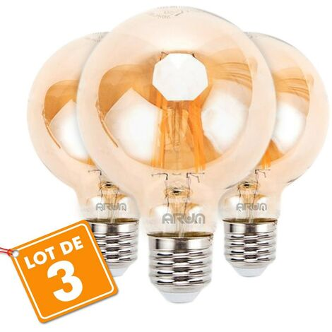 Lote de 3 bombillas LED E27 G80 Filamento ámbar 6W
