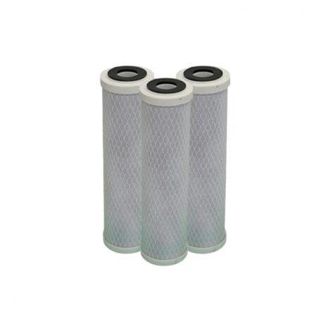 Lote de 3 cartuchos de carbón activados - sedimento 5 micras para puerta de filtro de 10 pulgadas