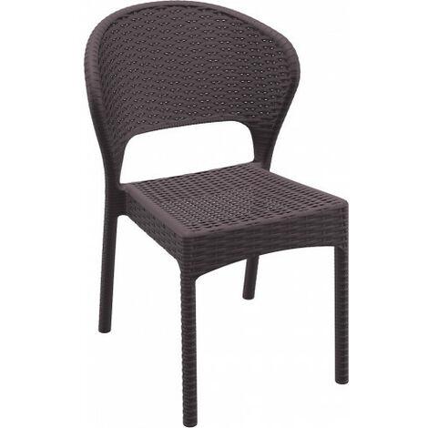 LOTE DE 4 x sillas apilable de exterior Daytona Resol ratán sho1032085-DESKandSIT- CHOCOLAT résine 1032