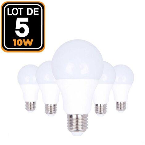 Lote de 5 Bombillas LED 10W E27 6000K alto brillo