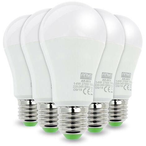 LOTE DE 5 BOMBILLAS LED E27 14W Eq 100W   Blanco cálido 2700K