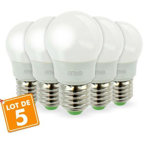 Lote de 5 bombillas LED E27 G45 5.5W bola 40W renderizado