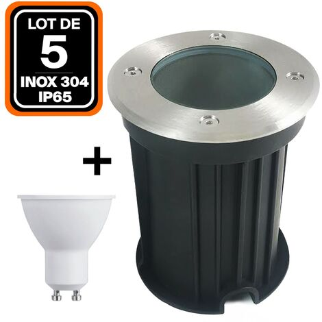 Lote de 5 focos empotrables de suelo redondo acero inoxidable 304 Exterior IP65 + Bombilla GU10 5 W Blanco frío 6000 K
