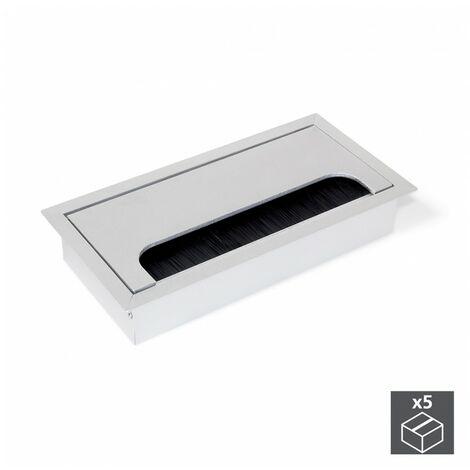 Lote de 5 pasacables rectangulares Quadrum Emuca para encastrar de aluminio anodizado mate