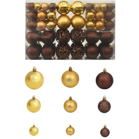 a8e70d0dd44f1 Lote de bolas de Navidad 100 unidades 6 cm marrón bronce dorado