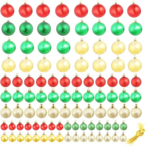 c9865badbbd6a Lote de bolas de Navidad 100 unidades 6 cm rojo dorado verde